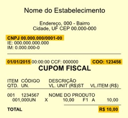 Modelo cupom fiscal